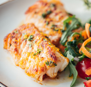 Baked Cod with Beans and Salad
