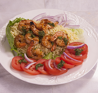 Barbecue Spiced Shrimp Orzo with Tomato